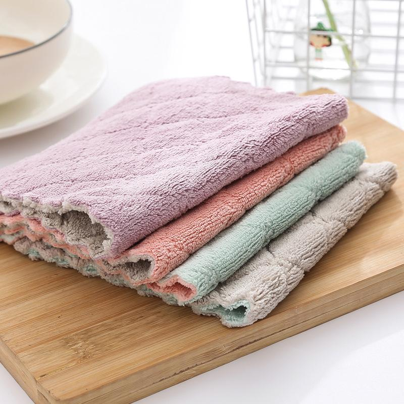 New microfiber cleaning cloth, double-sided absorbent dishwashing cloth, kitchen degreasing and dust removal wipes, tablecloth towe