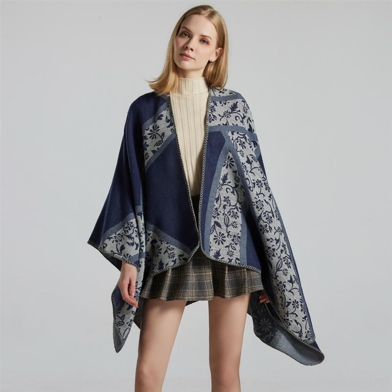 MRPQj nuovo fronte-retro scialle caldo delle donne di stile coreano jacquard piccolo cashmere floreale diviso grande mantello camera con aria condizionata calda mantello