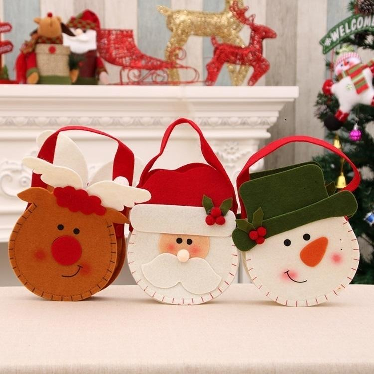 Snowman HOT decorações de Natal Papai Noel alces não tecido de saco de doces as crianças de Natal saco de presentes Interior decoração saco 80PCS T500281