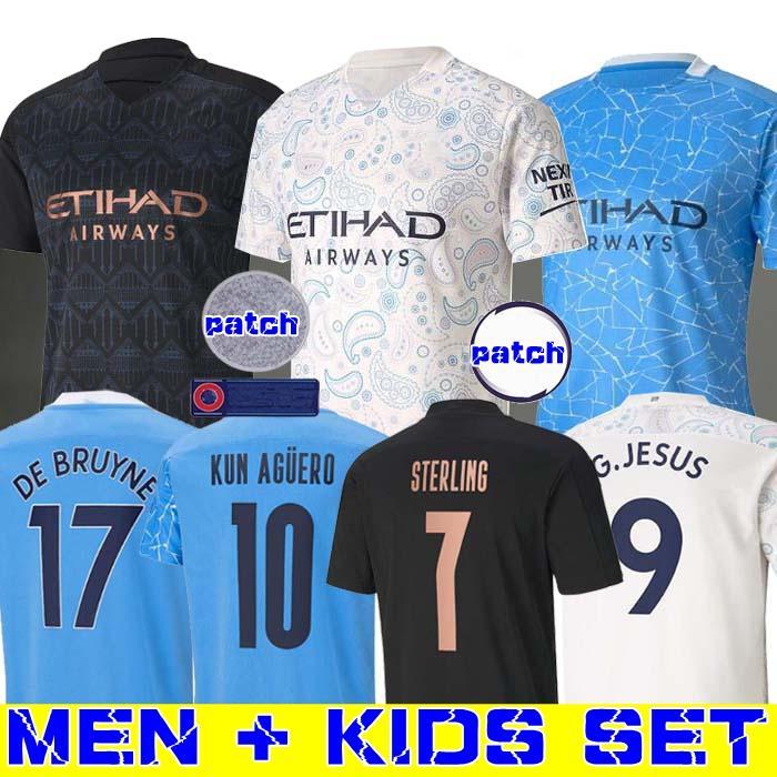 2020 2021 STERLING DE BRUYNE KUN AGUERO FERRAN 20 21 مانشستر لكرة القدم جيرسي مدينة قميص كرة القدم الرجال والأطفال عدة مجموعة MAHREZ أك انجيلينو