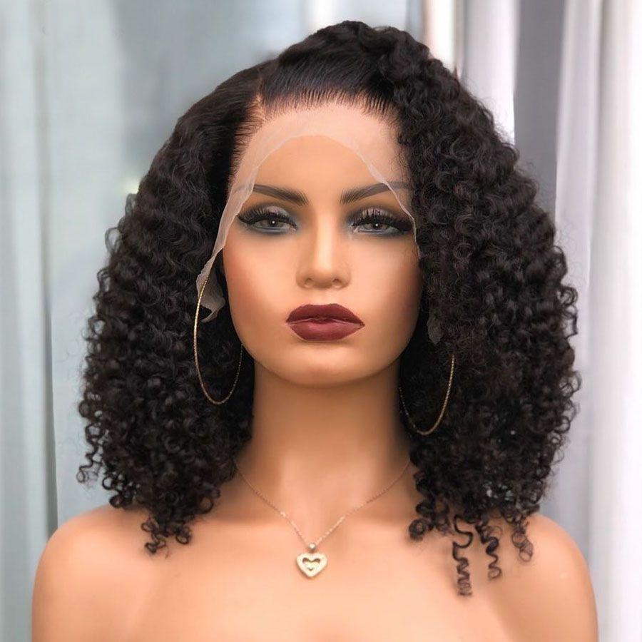 الهندي غريب مجعد قصير بوب الباروكات 180Density الحرير الأعلى الرباط الباروكات كامل الشعر الإنسان مع شعر الطفل قبل التقطه 360 الرباط الباروكات أمامي