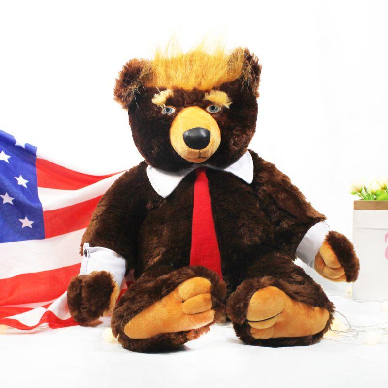 60 cm Donald Trump Bär Plüschtiere Cool USA Präsident Bär mit Flagge Niedliche Tier Bär Puppen Trump Plüsch Stofftier Spielzeug Kinder Geschenke LJ200902