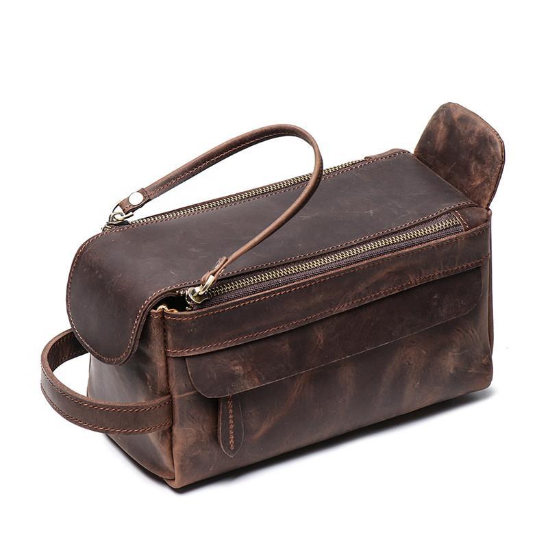 Sac faire brun véritable épais épais en cuir de cheval Crazy Sacs Sacs de toilette Sacs de toilette Voyage Cosmétique Nesitu sac Vintage Black Hommes M9049 Uedto