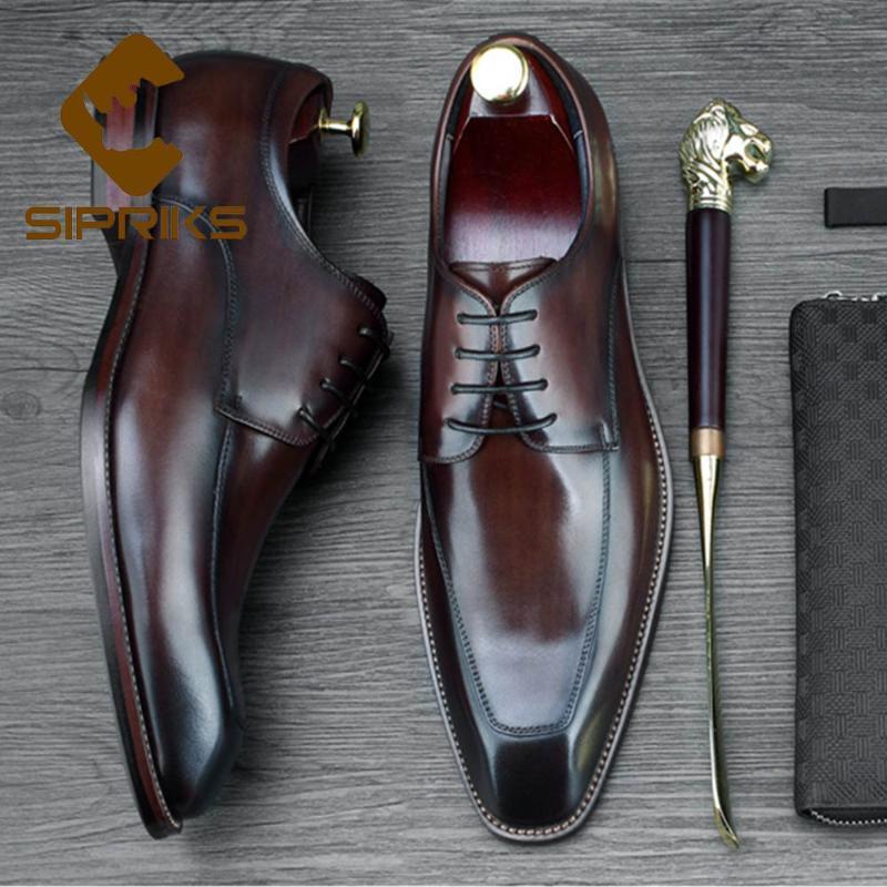 Sipriks Mens Brown bezerro vestido de couro sapatos de negócios Escritório Shoes elegante terno preto Formal Cavalheiro Tuxeod social