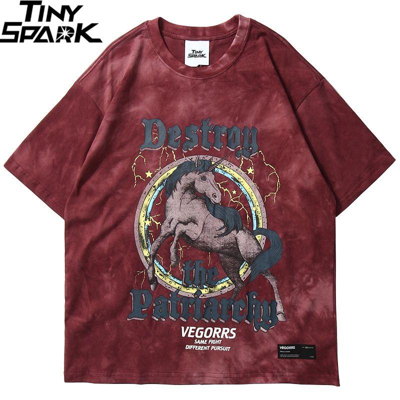 Hip Hop T Camiseta Homens 2020 Streetwear Impressão Cavalo Selvagem Tshirt Harajuku Tops de Verão T-shirt de Manga Curta T-shirt LOVE TIMA LJ200827