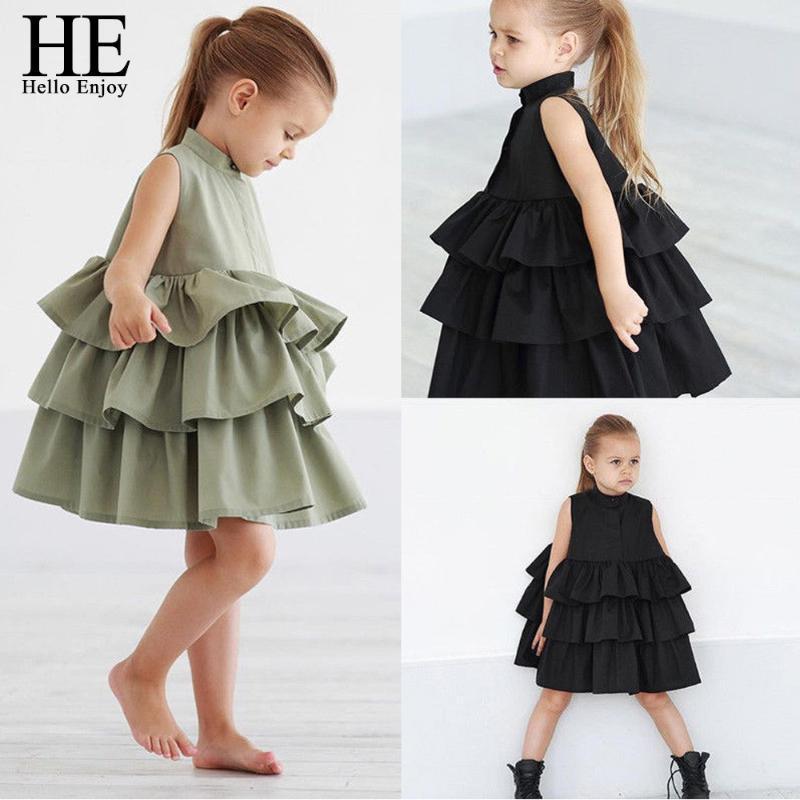 HE Hola Disfrute recién nacido ropa de los cabritos bebés del partido de los vestidos sin mangas con volantes de la torta del tutú de la burbuja vestidos de verano muchacha de los niños