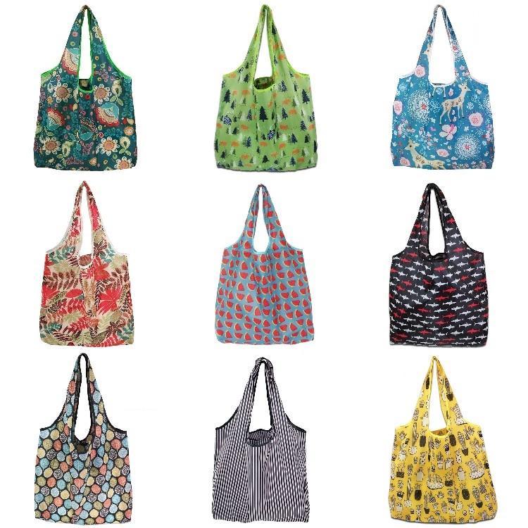 material reutilizável portátil saco de compras de chita poliéster proteção ambiental saco de móveis dobráveis saco de publicidade T500256