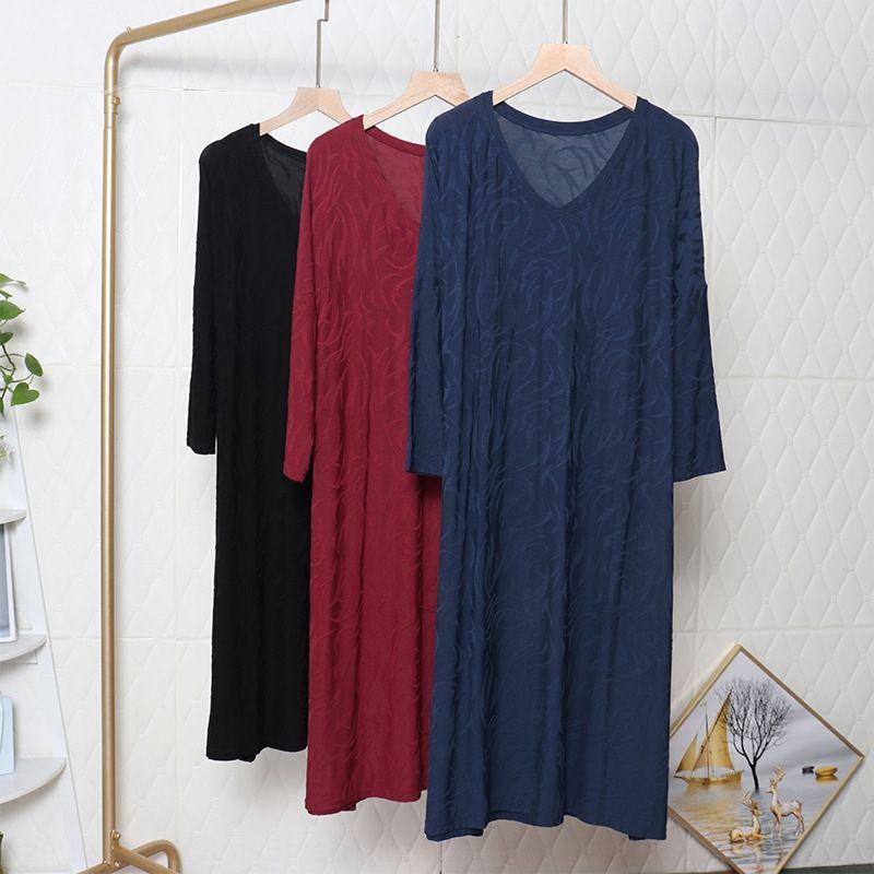 New modal bat sleeve women's MT001 casual V-neck long skirt dress plus fat large size Medium-length dress mMlc0