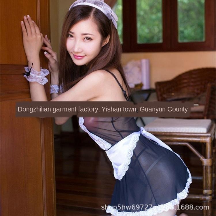 zkQru empregada doméstica sexy transparente rendas lingerie sexy perspectiva empregada terno de saia Suspender suspender saia sling sling terno tentação