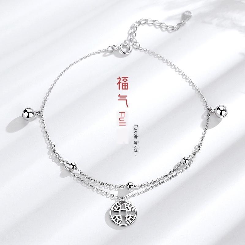 S925 Bell gümüş bakır halhal Kore tarzı niş tasarımı sade halhal kadın Bell ayak bileği zincir hepsi maç