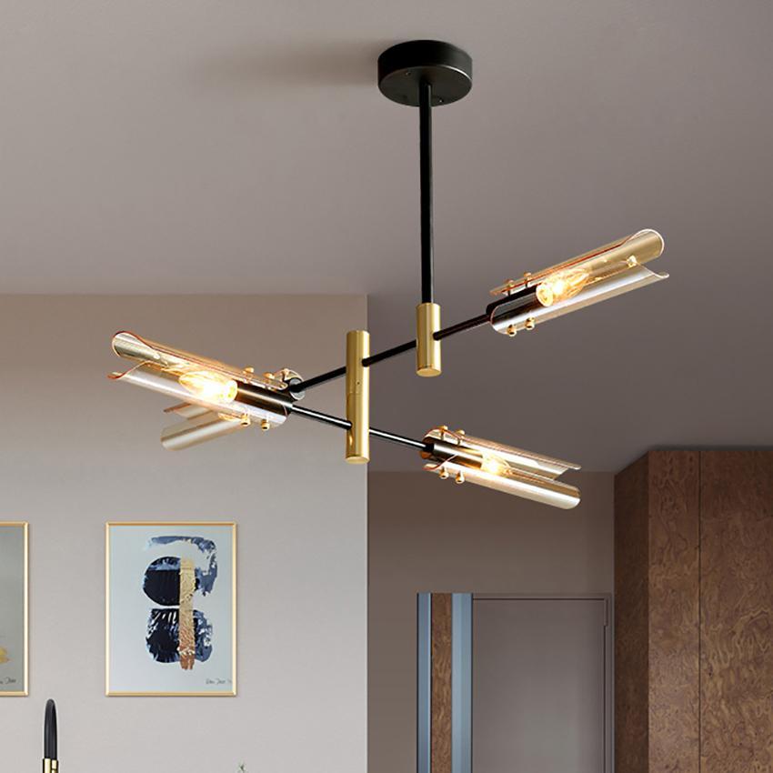 Lustre de luxe postmoderne éclairage nordique en fer forgé en verre E14 vie créatif salon salle à manger cuisine chambre suspendu lumière