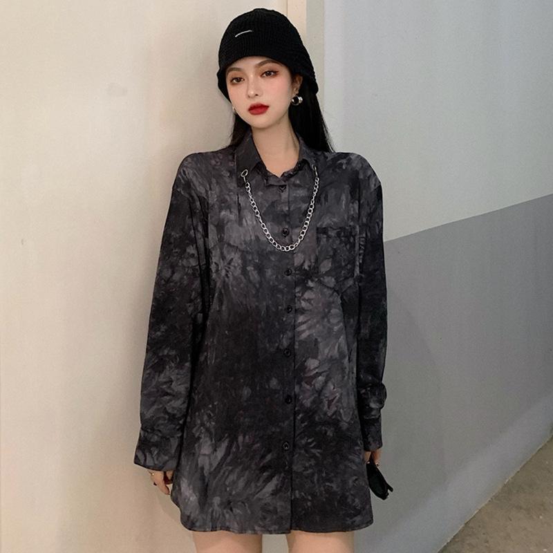 camisa fina otoño 2020 nuevo estilo oscuro 9CXEj temprana de manga larga nicho de diseño que adelgaza la camisa teñida para las mujeres