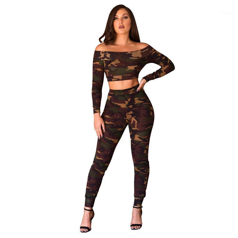 Boyun seksi ince 2 Adet Pantolon Uzun Kollu Günlük Moda Kadınlar Tracksuits Kadınlar Tasarımcı eşofman Slash kamuflaj