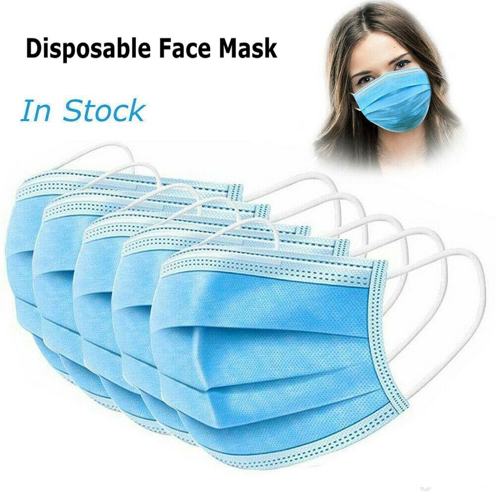 Na DHL frete grátis estoque! Descartável Máscara Facial 3 Ply elástico para Máscara Anti Poeira Protective Segurança Boca Máscara Home Use Facemask Mascherine