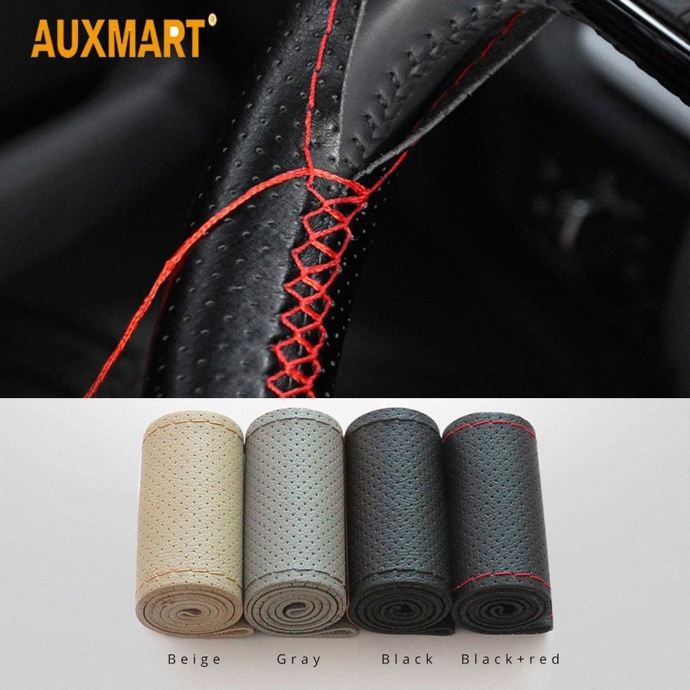 Auxmart Braid No Steering roda de carro cobertura de volante com agulhas e fio de 38 centímetros Auto Car Acessórios Para Kia wXvN #