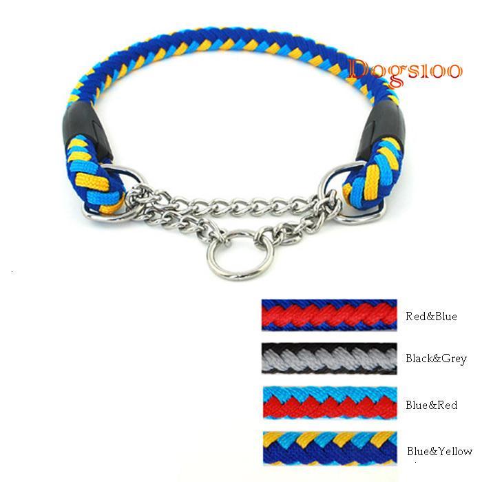 Una cuerda trenzada Chock cadena del perro collares para mascotas Entrenamiento Heavy Duty 2 colores del tamaño 4