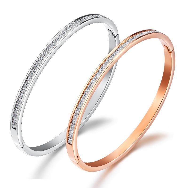 2020 nuevo de la manera de oro rosa / blanco de las mujeres de los brazaletes de acero inoxidable mosaico circonio cúbico salvaje pulsera SZ018