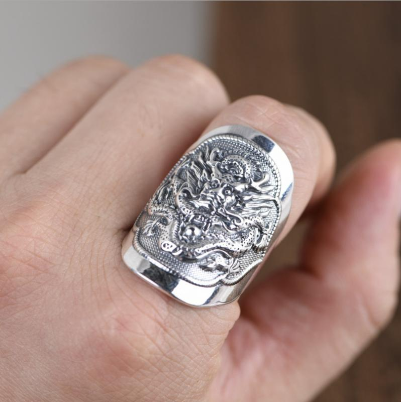 anneau d'artisanat rétro argent pur pour l'homme S990 anneau totem dragon en argent dragon thaïlandais ouvert mâle bijoux