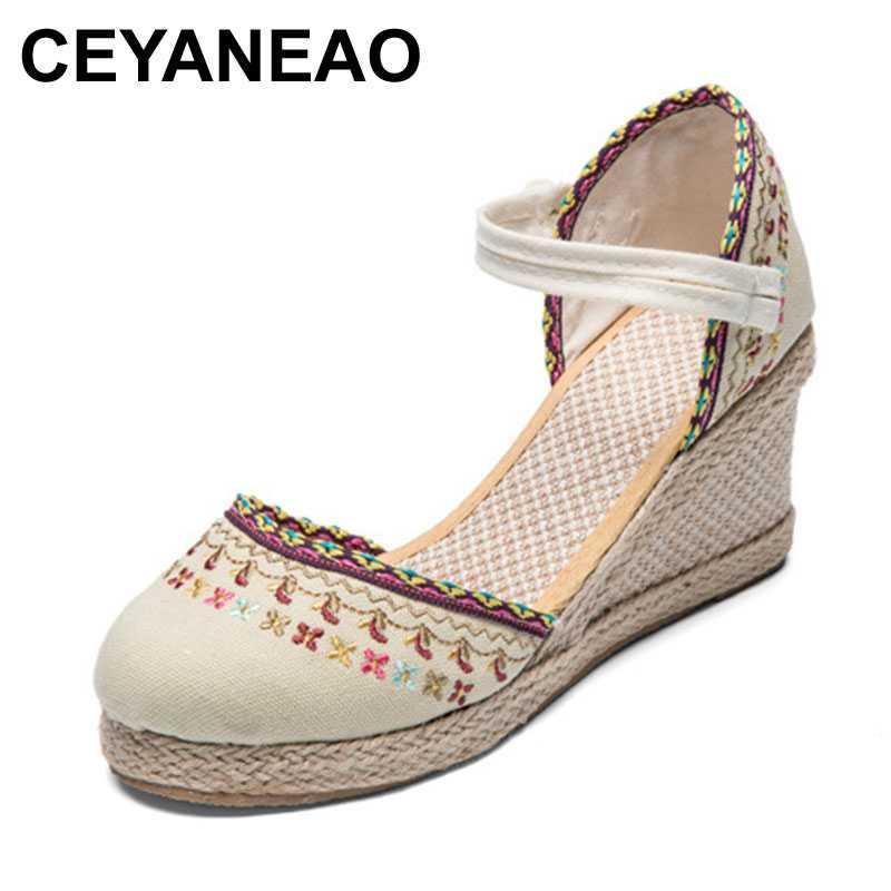CEYANEAOBohemian de las sandalias de cuñas Alpargatas lienzo encaje floral tacones altos zapatos de las bombas de verano Mujer