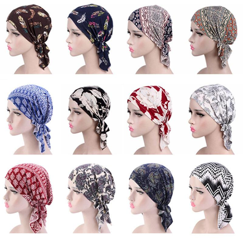 Turban Printing Triangle Bandana Cap Elastic Piraten-Kopftuch mit Blumenstirnband Kopfbedeckung Chemotherapie Bandana-Hut-Haar Accessorieers IIA425