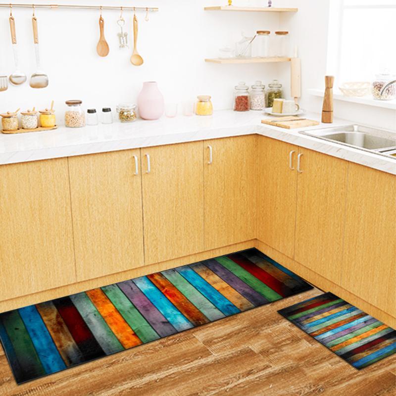 Impressos madeira tapetes Mats cabeceira tapetes anti-derrapante Coffee Table Tapete Para Quarto Rug Tapete Kitchen