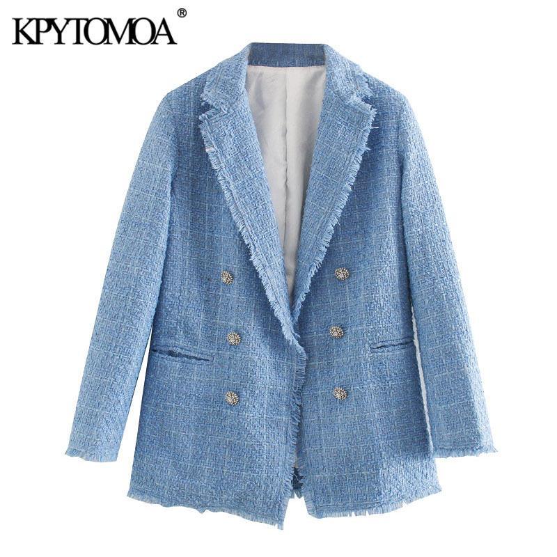 KPYTOMOA Женщины 2020 моды Офис Wear Двойной Брестед Tweed Blazer пальто с длинным рукавом Vintage Изношенные Женский Верхняя одежда Chic Верхняя CX200819