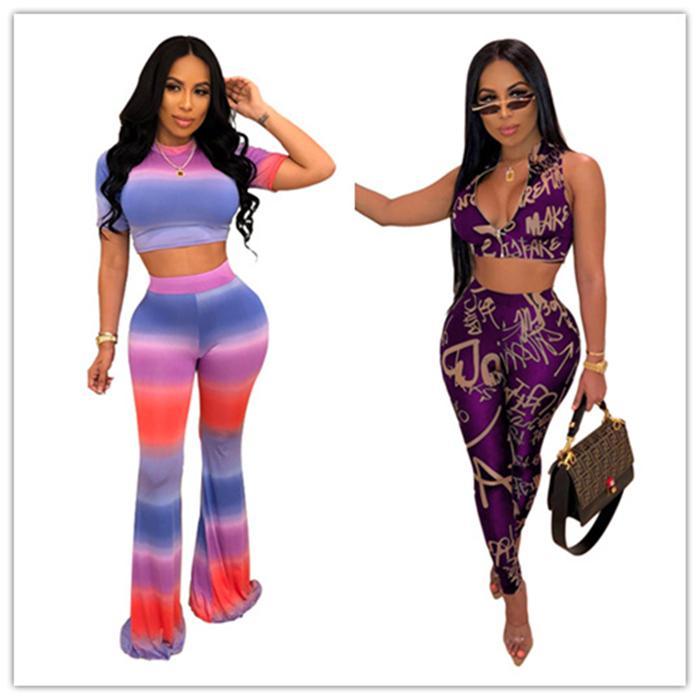 Tasarımcı Harf Gradient 2adet Yaz Tam Uzunlukta Skinny Kadınlar Giyim 2 adet Casual Seksi Günlük Setleri Womens