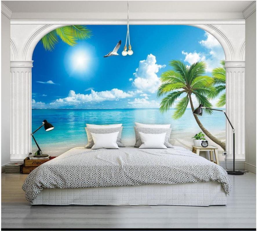 3D фрески обои на заказ 3d фото обои Средиземноморский пейзаж настенная приморский пейзаж ТВ фоне стены гостиной декора
