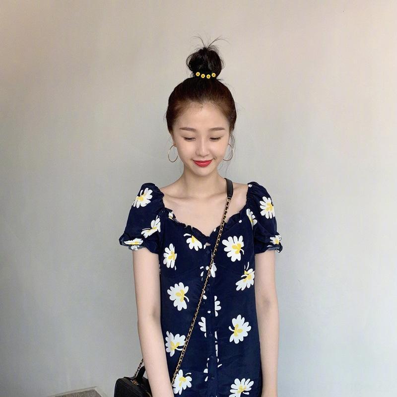 estate chiffon O5eFW Yu Shuxin stessa fata Super fata stile Mori coreano della margherita floreale francese vestito dimagrante