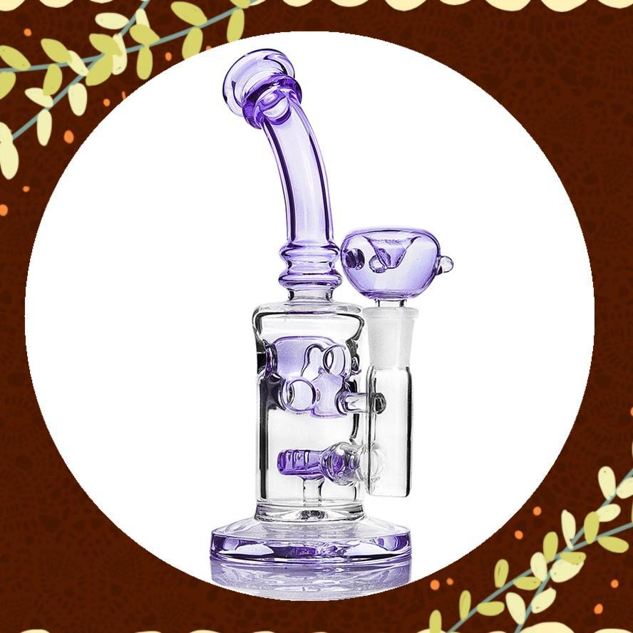 """8.4"""" violet Verre Bongs Klein recycleur Rigs huile pipe à eau douche tête Perc Bong Les conduites d'eau narguilés Shisha 14mm Joint"""