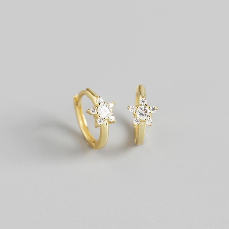YHE0231 S925 Silber earlightINS minimalistischer Diamanten und geometrische Stern Diamant-Ohrringe Ohrringe Hipster