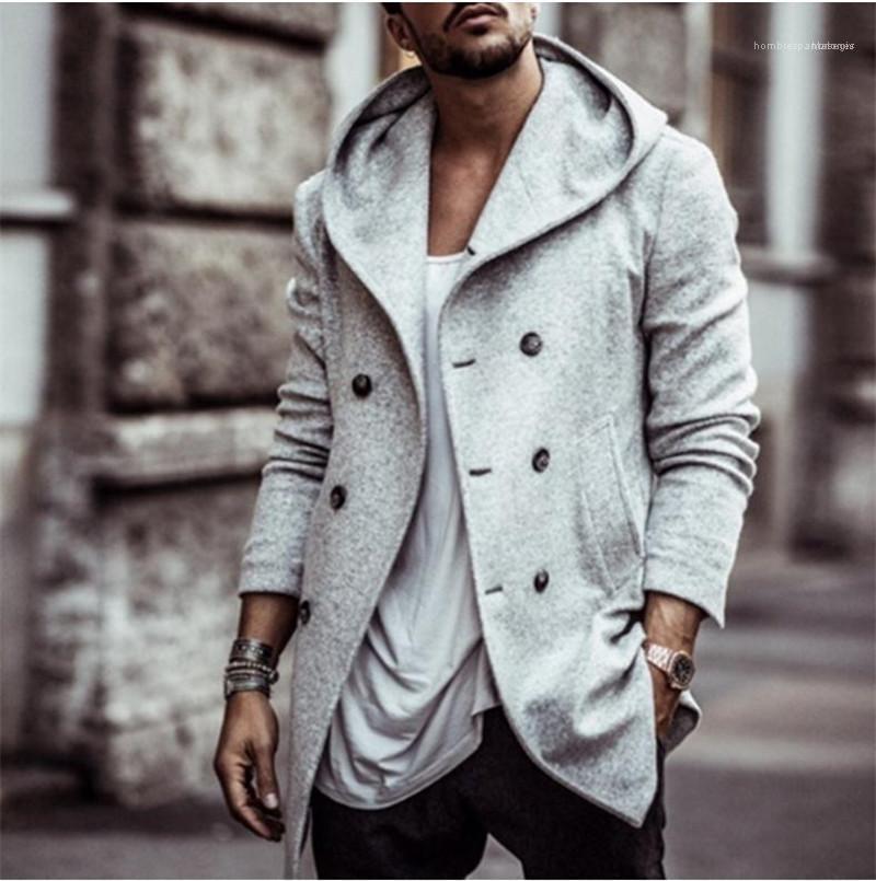 Çift Breasted Kapşonlu Karışımları Yeni Geliş Erkek Giyim Sonbahar Kış Erkek Tasarımcı ceketler Moda Günlük Uzun Kol