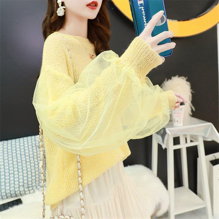 3sAlA 2020 Frühling und Sommer neue Pullover Top Blase Hülse dünne Pullover Spitzenfrauen faul sanfte Art lange Hülse hohlen-herausen Pullover Schweiß