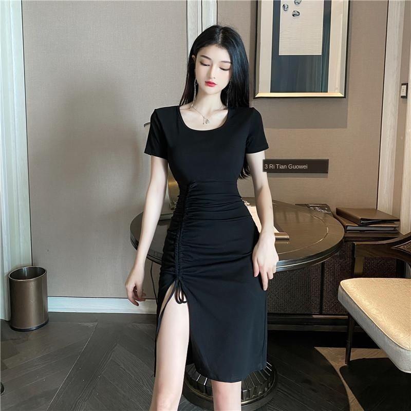 Юбка 2020 новой мода платья лето темперамента средней длиной сексуальный раскол плотно похудение черного платья для женщин AEkHj