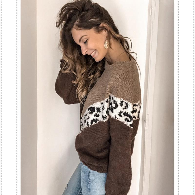 Invierno para mujer del suéter de manga larga a rayas suéter de punto flojo del puente Batwing Sleeve Crew Neck géneros de punto de invierno Outwear Tops caliente Y200720