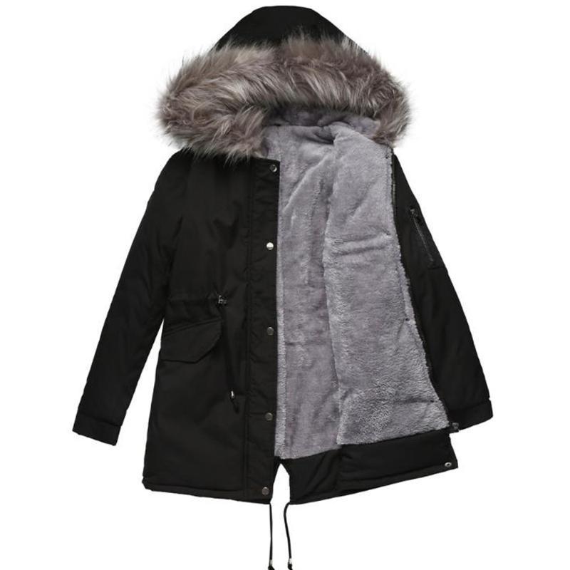 2020 chaqueta de invierno Mujer Parkas cuello de la piel manera espesa larga caliente del algodón Liner Parka con capucha de las mujeres Outwear Tops Plus Tamaño 3XL