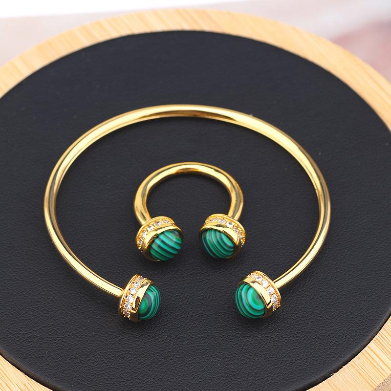 Korean version of creative simple personality green fritillion bracelet zircon fashion bangle ring set versatile jewelry women bracelets