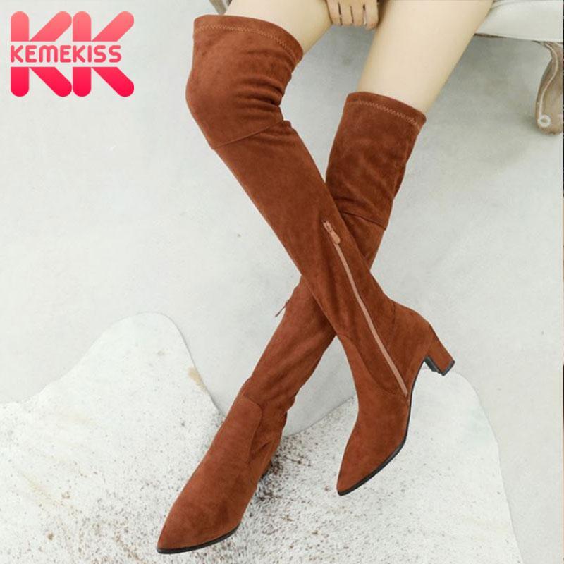 KemeKiss elástico Bootie de las mujeres más el tamaño 32-48 invierno de la piel de ante resbalón de tacón grueso Sheos mujeres de Fahsion al aire libre Mujer Zapato