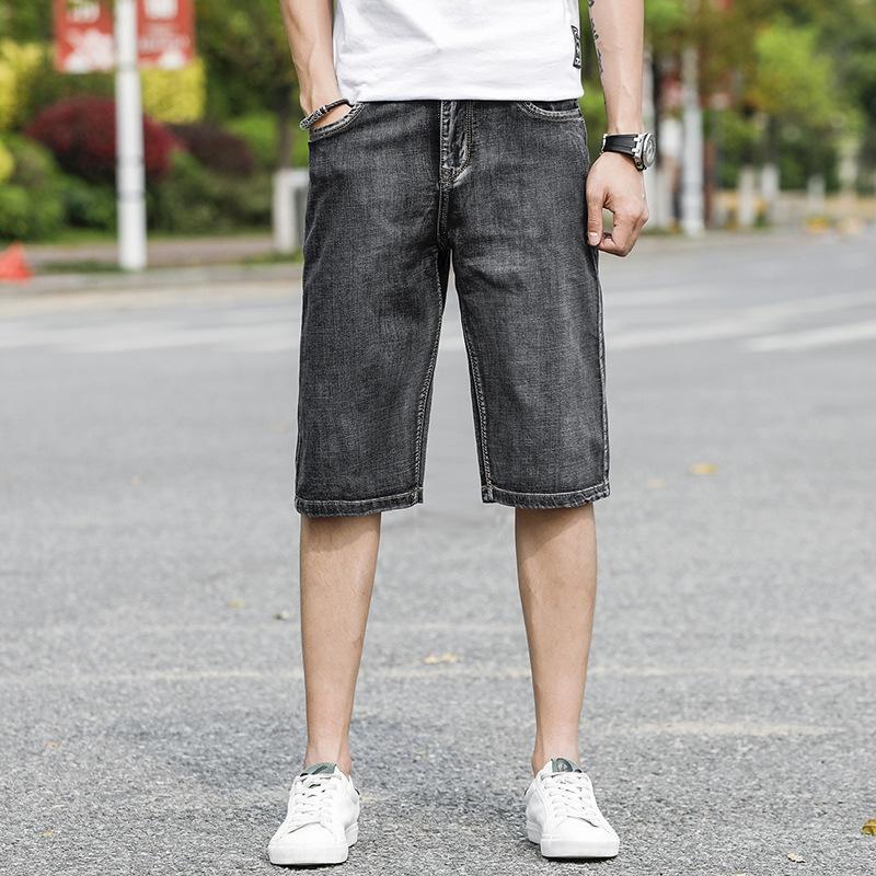 JM4jk Сыпучего прямая труба дымчатого серого Capri широкой ноги размера широкой нога брюки мода стрейч летний тонкие износостойкий мужские толстые штаны