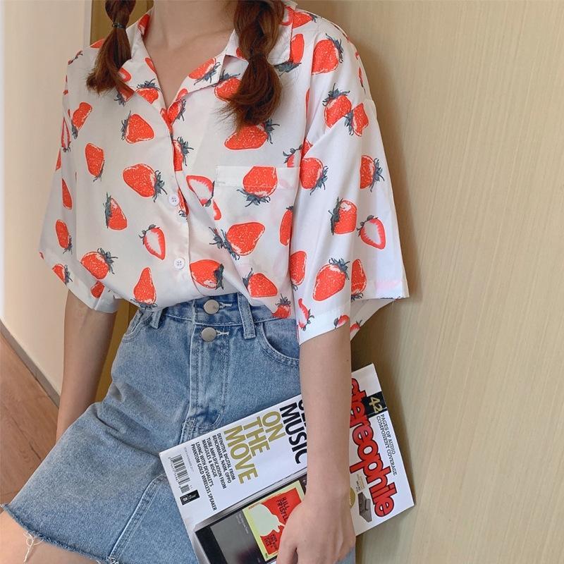 gcxM9 doce Top morango Menina da fruta morango impresso camisa de manga curta top estudante bonito novo verão meia manga roupas femininas