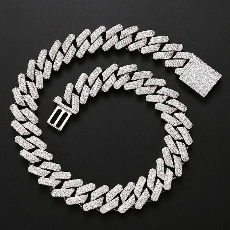 20мм большого широкий Hip Hop CZ мощеного Bling Iced Out Square кубинского Майами Link Chain Чокеры ожерелье для мужчин рэппера ювелирных изделий
