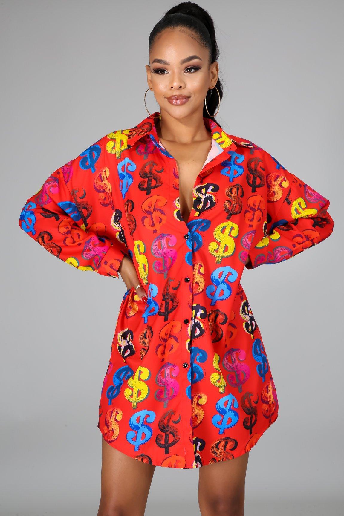 2020 Print Damen-Hemd-Kleid Vintage elegante Bluse Frauen Herbst Revers Langarm loses Hemd-T-Shirt