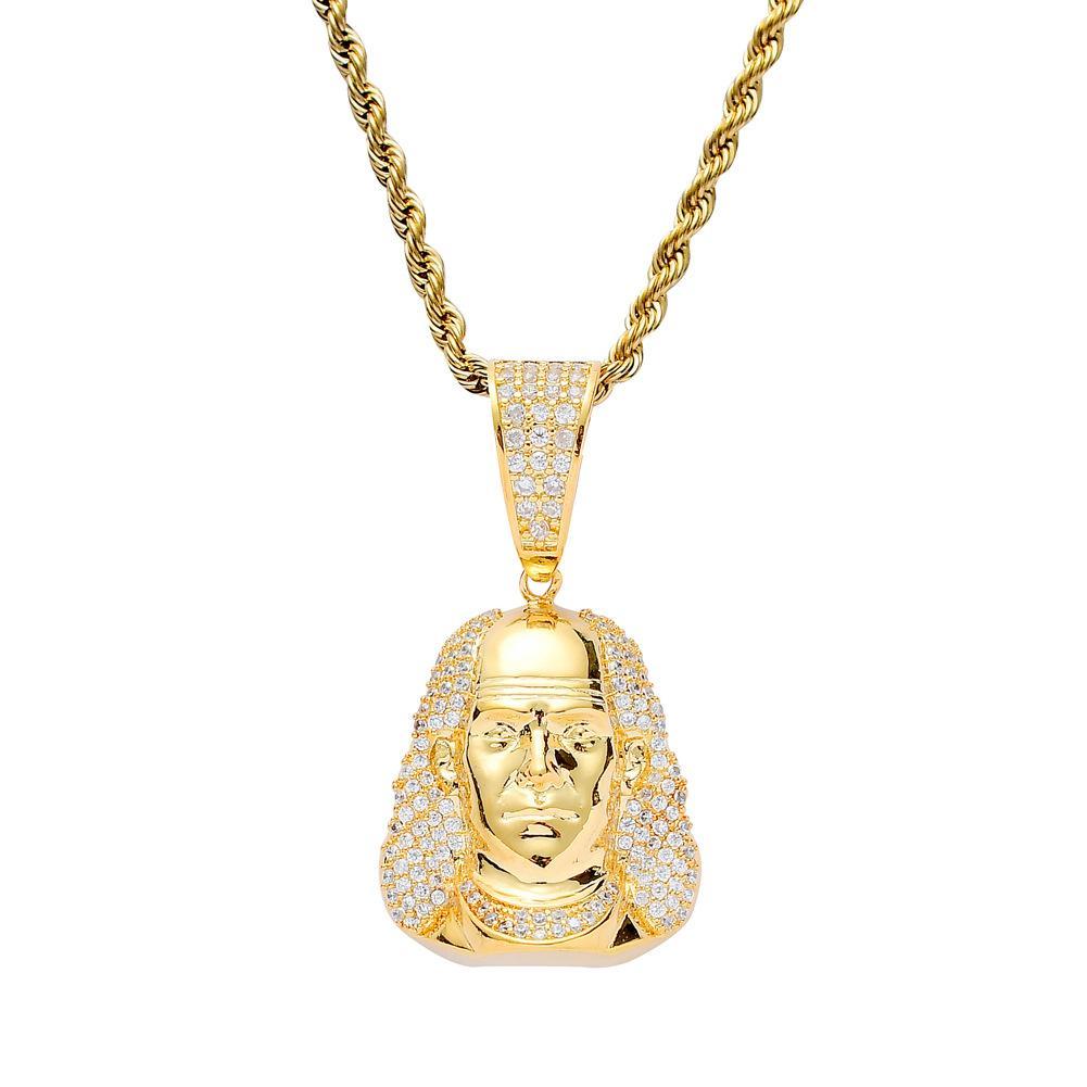 Glace sur Franklin caractère Hip Hop Pendentif Zircon cubique Collier Bijoux pour hommes Nouveau design Bijoux pour hommes