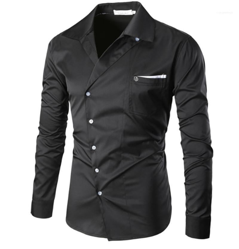 Breasted Homme Tops Frühlings-Designer Herren-Shirt der Männer Taschen Dekoration Langarm Revers Kleidung Mode Stile Einzel