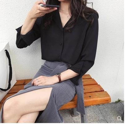 top top camicia di base di colore solido camicia lunga OL manicotto delle donne chiffon del collare vestito elegante donne della molla nuove sWJRF