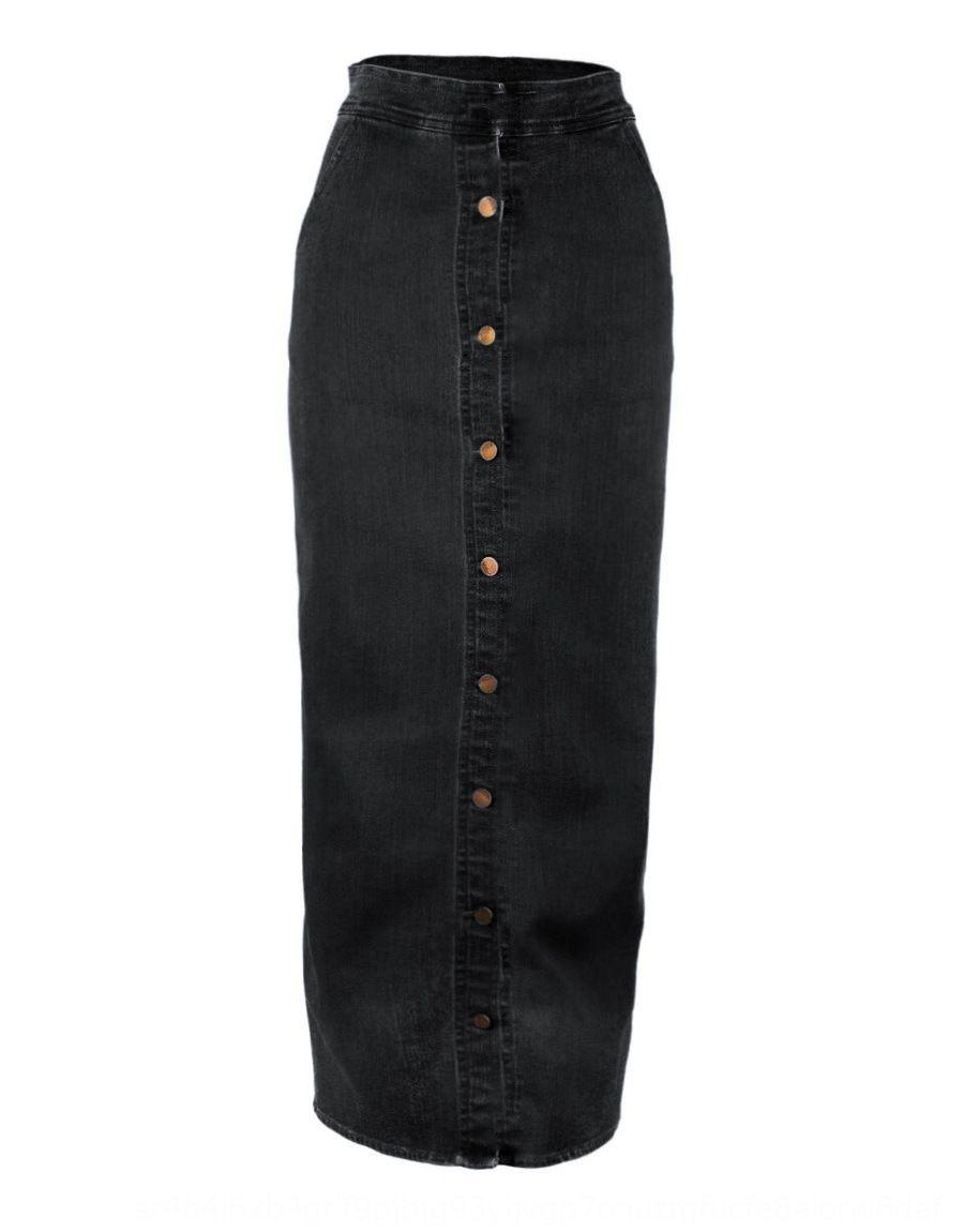4AteO 2019 de la moda del delantal ins largo tramo botón denim falda de la cadera botón falda de la cadera