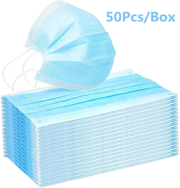 Stock in 3-lagig Staub 50pcs / box Ohrbügel Einmal-Mundgesichtsmaske Anti-Staub Selbstschutzmasken W / Elastic Blau