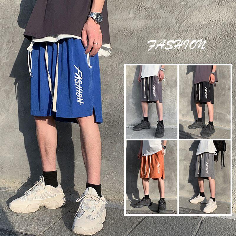 Hommes Lettre Imprimé short de course Hip Hop Casual polyvalent Loose Fit Shorts coréenne style tendance INS Pants Mode