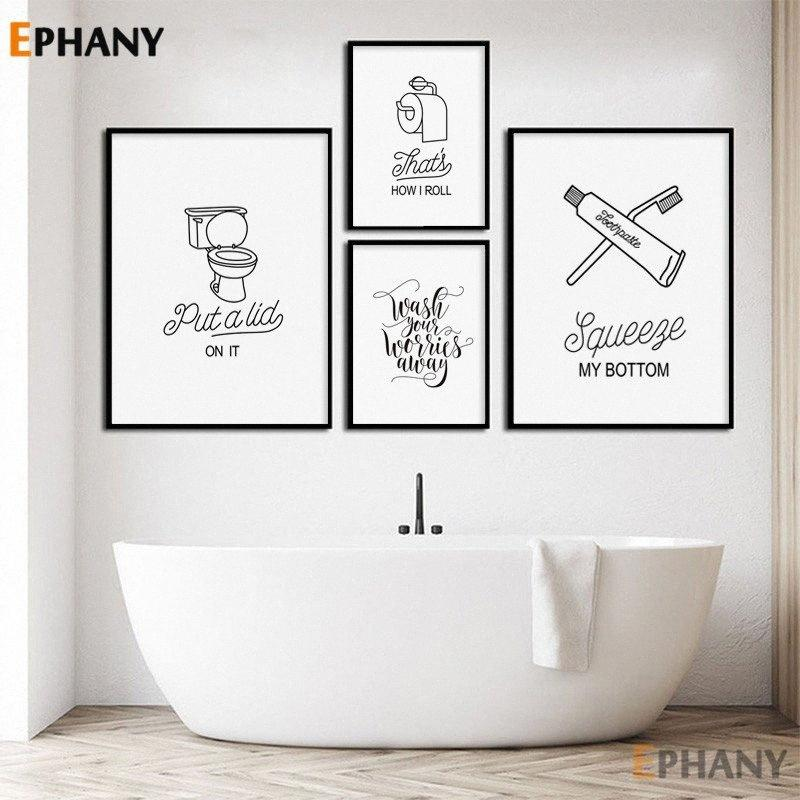 2020 Minimalist Bathroom Wall Art Canvas Poster Black White Simple Humor Quote Print Nordic Decorative Picture Painting Home Decor Tke1 From Doomi 36 36 Dhgate Com