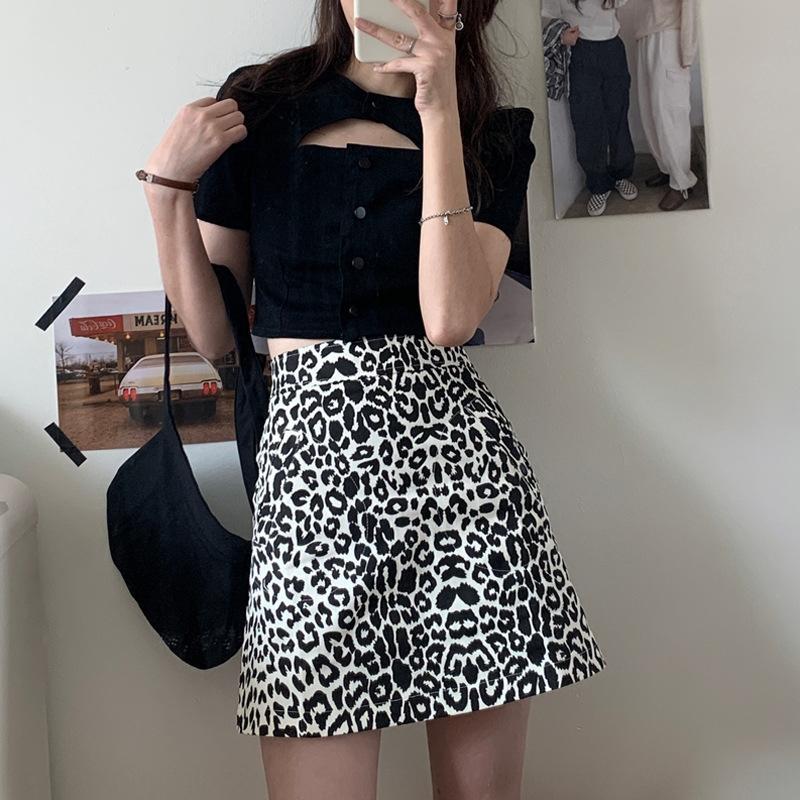 лето 2020 новый нежный западный стиль моды темперамент небольшой A- линия бедра покрытым платье Leopard юбка печати женщин фартук платье юбка Fashi